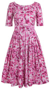 Florance Dress Boat Neck 1/2 Sleeve Long Length Cotton Stretch (Nowness)