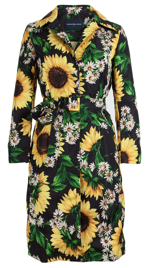 Parisienne Coat Long Sleeve Silk Poly (Oceana Sunflower)
