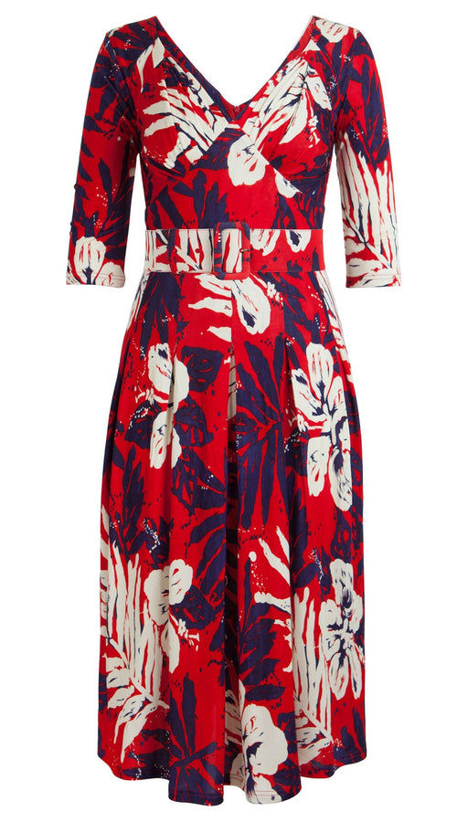 Michelle Dress V Pleats 3/4 Sleeve Viscose Jersey (Ohau Hibiscus)