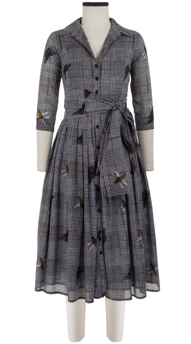Audrey Dress #2 Shirt Collar 3/4 Sleeve Midi Length Cotton Musola (Pablo Winsor Check)
