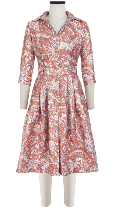 Audrey Dress #3 Shirt Collar 3/4 Sleeve_Silk Poly Brocade_Paisley Brocade_Blush