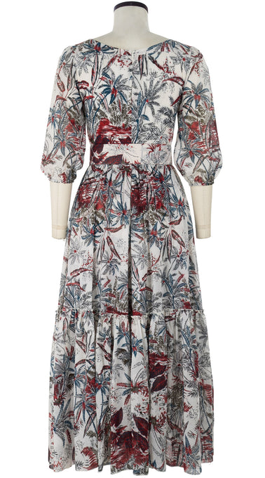 Anna Dress Boat Neck 3/4 Sleeve Ankle Length Cotton Musola (Palm Toile)