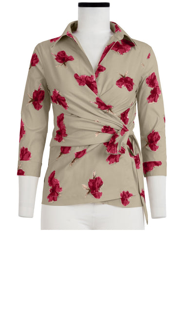 Hilton Shirt 3/4 Sleeve Cotton Stretch (Passion Rose Bright)
