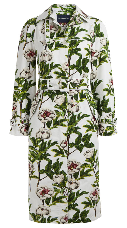 Yves Trench Coat Shirt Collar Long Sleeve Silk Cotton Ottoman (Peony Full Bloom)