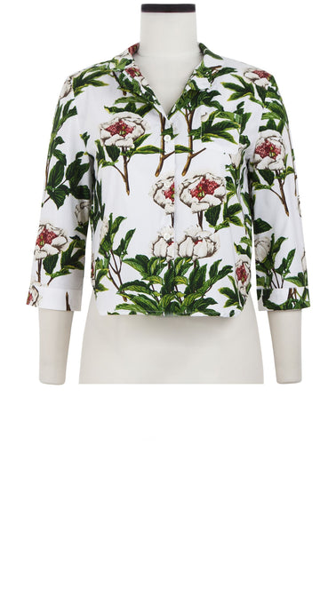Anne Shirt 3/4 Sleeve Cotton Stretch (Peony Full Bloom)