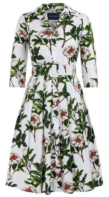 Audrey Dress #1 Shirt Collar 3/4 Sleeve Cotton Stretch (Peony Full Bloom)