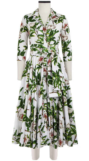 Gigi Dress Shirt Collar 3/4 Sleeve Midi Length Cotton Lawn (Peony Full Bloom)