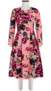Florance Dress #3 Crew Neck 3/4 Sleeve Long Length Cotton Stretch (Peony Kimono)