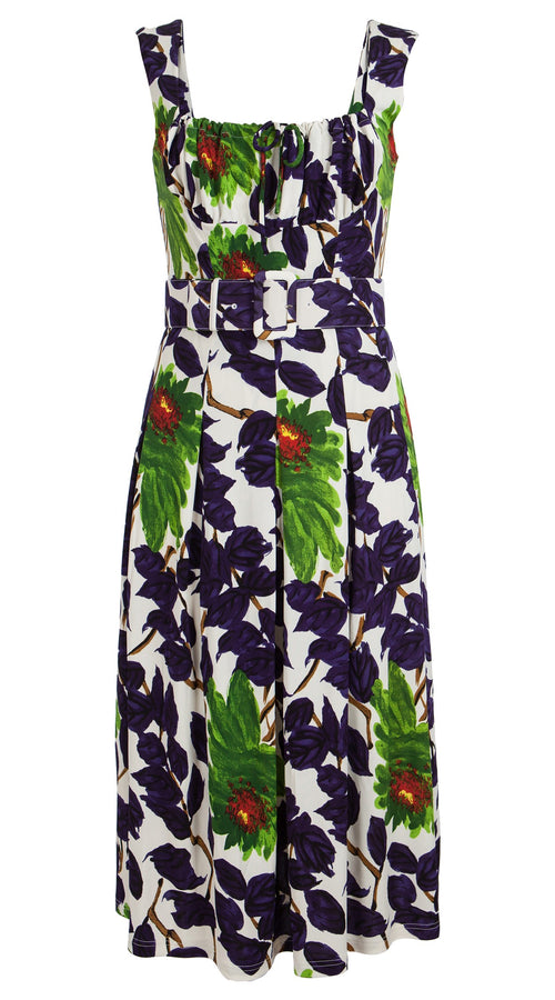 Jennifer Dress #2 Dirndl Neck Sleeveless Viscose Jersey (Picasso Flower)
