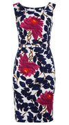 Victoria Dress Boat Neck Mini Cap Sleeve Cotton Dobby Stretch (Picasso Flower)
