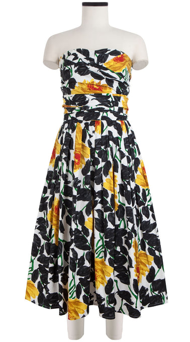 Carol Dress #2 Tube Strapless Midi Cotton Stretch (Picasso Flower)