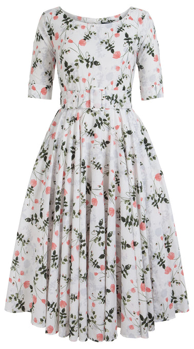 Aster Dress Boat Neck Mini 1/2 Sleeve Midi Cotton Lawn (Poppy Dream)