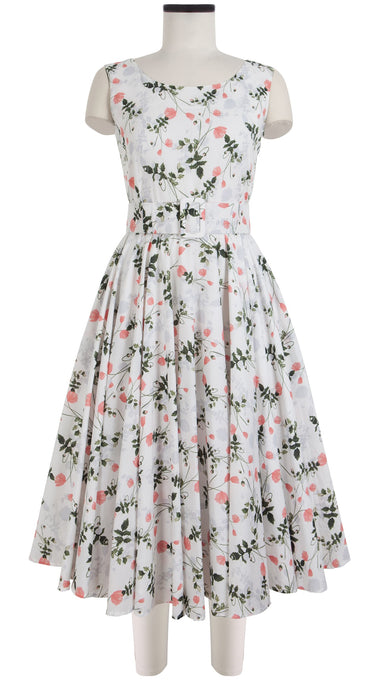 Aster Dress Boat Neck Mini Cap Sleeve Midi Cotton Lawn (Poppy Dream)