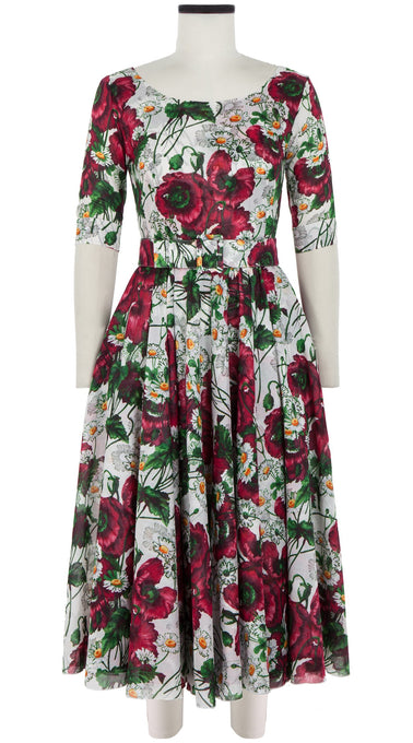 Aster Dress Boat Neck 1/2 Sleeve Midi Length Cotton Musola (Poppy Farm)