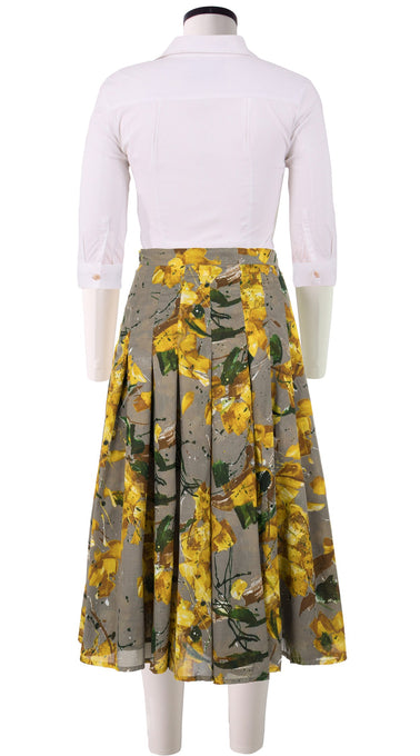 Zeller Skirt Midi Length Cotton Musola (Purple Peddals)