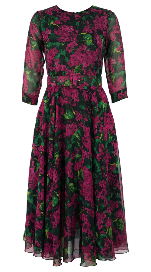 Aster Dress Crew Neck 3/4 Sleeve Midi Length Silk GGT (Rockcress Flower Black)