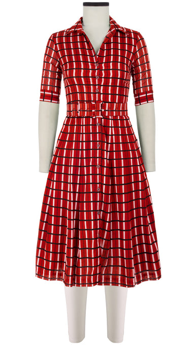 Audrey Dress #3 Shirt Collar 1/2 Sleeve Long Length Cotton Musola (Roman Check)