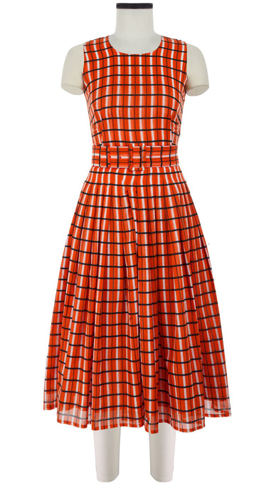 Florance Dress Crew Neck Sleeveless Midi Length Cotton Musola (Roman Check)