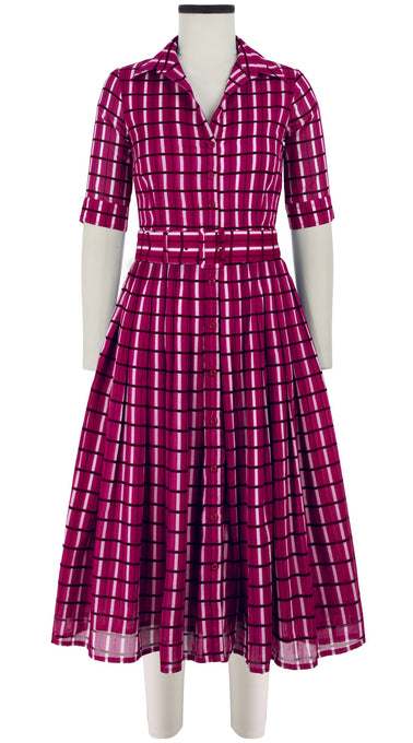 Audrey Dress #2 Shirt Collar 1/2 Sleeve Midi Length Cotton Musola (Roman Check)