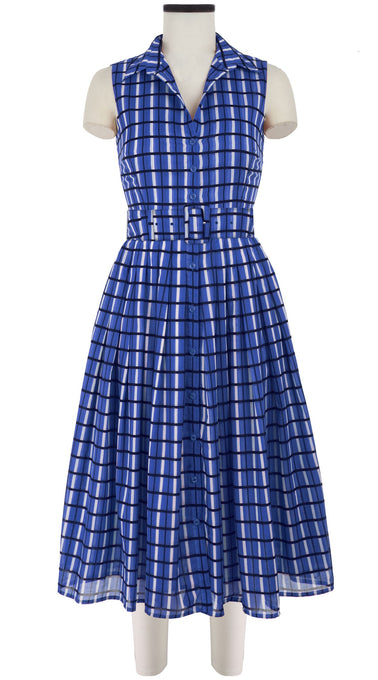 Audrey Dress #2 Shirt Collar Sleeveless Midi Length Cotton Musola (Roman Check)