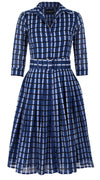 Audrey Dress #2 Shirt Collar 3/4 Sleeve Long Length Cotton Musola (Roman Check)