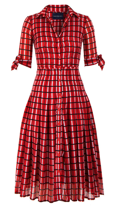 Audrey Dress #4 Shirt Collar 1/2 Sleeve Midi Length Cotton Musola (Roman Check)