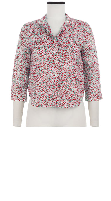 Ann Shirt 3/4 Sleeve Cotton Musola (Rose Bud Bright)