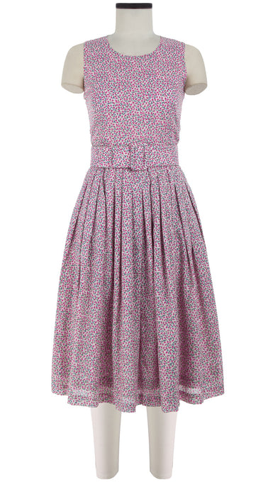 Florance Dress Crew Neck Sleeveless Long Length Cotton Musola (Rose Bud Pastel)