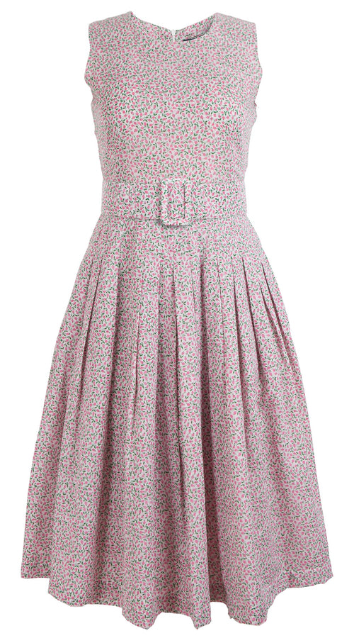 Florance Dress Crew Neck Sleeveless Cotton Musola (Rose Bud Pastel)