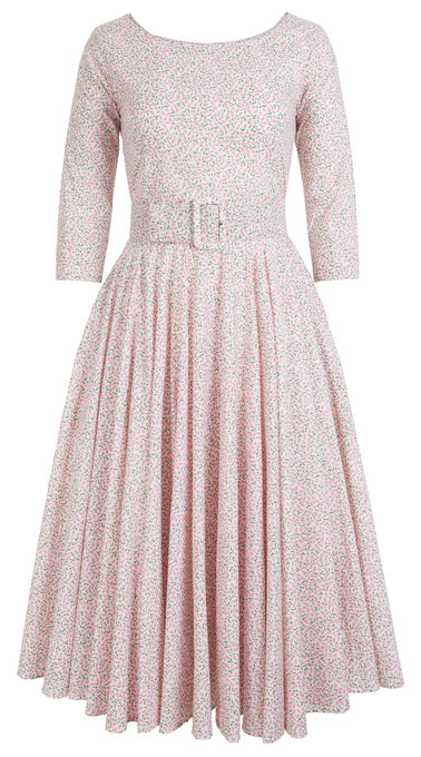 Aster Dress Boat Neck 3/4 Sleeve Cotton Lawn (Rose Bud)