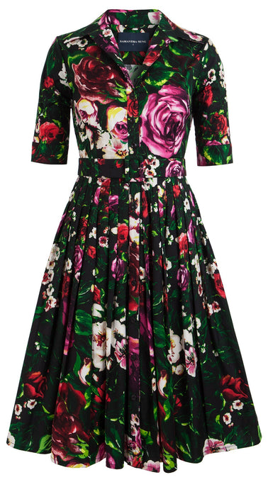 Audrey Dress #1_Rose Garden in Black Red Rose_Cotton Stretch_Shirt Collar 1/2 Sleeve
