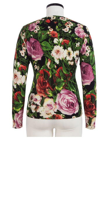Carolina Cardigan Crew Neck Long Sleeve Cashmere (Rose Garden)