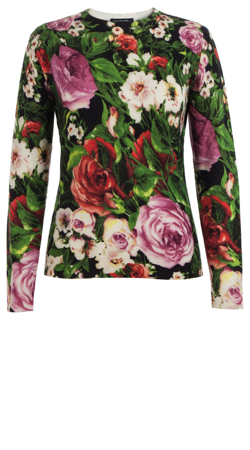 Carolina Pullover Crew Neck Long Sleeve Cashmere (Rose Garden)