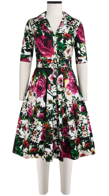 Audrey Dress #1 Shirt Collar 1/2 Sleeve Cotton Stretch (Rose Garden)