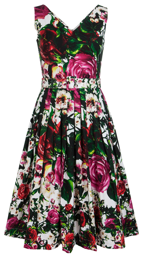 Florance Dress Open V Neck Sleeveless Cotton Stretch (Rose Garden)