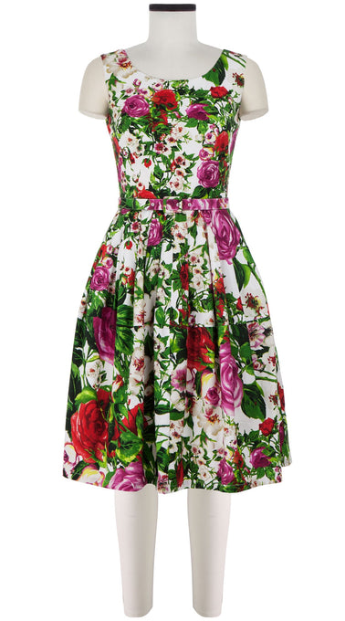 Rachel Dress Boat Neck Mini Cap Sleeve Cotton Stretch (Rose Garden)
