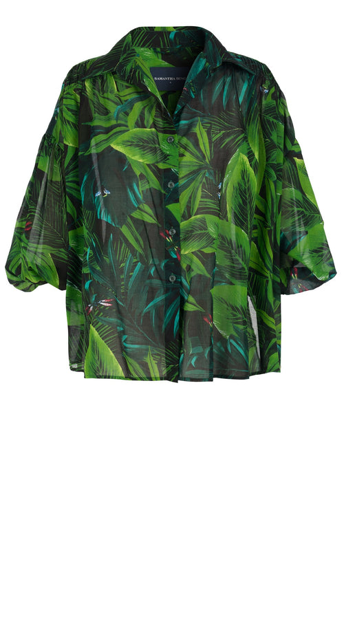 Julia Blouse Shirt Collar 3/4 Sleeve Cotton Musola (Rubber Plant)