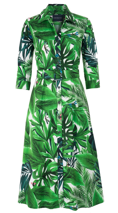 Abel Dress #3 Shirt Collar 3/4 Sleeve Midi Length Cotton Stretch (Rubber Plant)