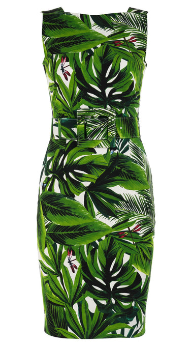 Celine Dress High Boat Neck Sleeveless with Hamilton Belt Cotton Dobby Stretch (Rubber Plant)