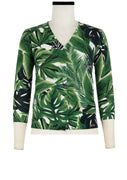 Charlotte Cardigan V Neck 3/4 Sleeve_70% Silk 30% Cashmere_Rubber Plant_White Green