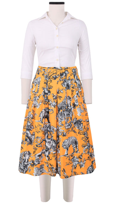Zelda Skirt Long +3 Length Cotton Stretch (Safari Toile Bright)