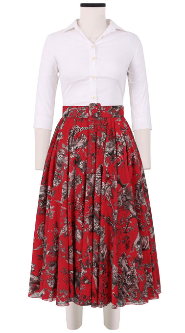 Aster Skirt #1 with Belt Midi Length Cotton Musola (Safari Toile Bright)