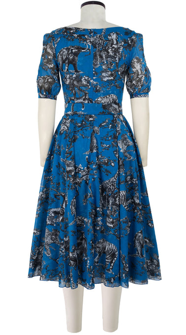 Avenue Dress #2 U Neck 1/2 Puff Sleeve Midi Length Cotton Musola (Safari Toile Bright)