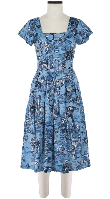 Savannah Dress Square Neck Short Sleeve Long +3 Length Linen (Safari Toile Ground)