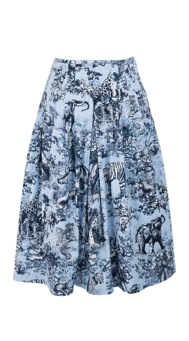 Zelda Skirt Long +3 Length Cotton Stretch (Safari Toile Ground)
