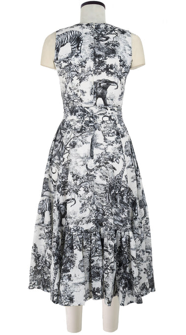 Amanda Dress Crew Sleeveless Midi Length Linen (Safari Toile White)