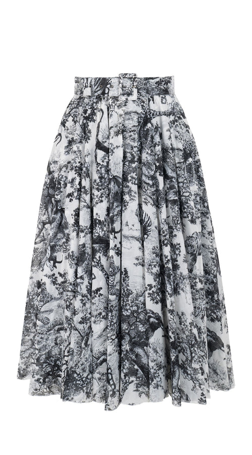 Aster Skirt #1 with Belt Midi Length Cotton Musola (Safari Toile White)