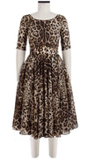 Aster Dress Boat Neck 1/2 Sleeve Cotton Musola (Safari Leopard)