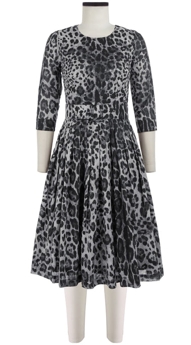 Florance Dress Crew Neck 3/4 Sleeve Long Length Cotton Musola (Safari Leopard)