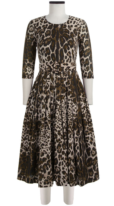 Florance Dress Crew Neck 3/4 Sleeve Midi Length Cotton Musola (Safari Leopard)